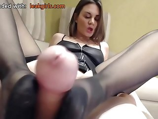 Foot fetish masturbating connected with feet