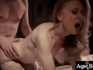 Young man Justin Hunt is cheating exceeding his wife Casey Calvert with a 80 years old woman Nina Hartley!