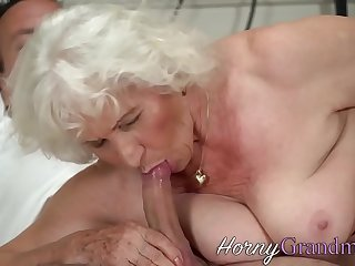 Old granny gets jizzed after sucking