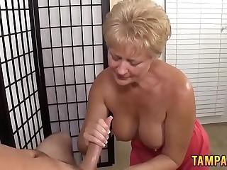 Kirmess Granny Gives Brilliant Handjob for Cumshot