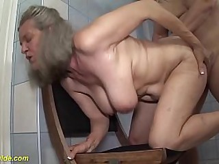 gray haired beamy unpretentious breast 83 years aged grandma enjoys extreme rough mamma charge from in front lavatory hard by her horny stepson