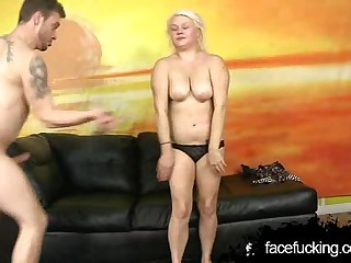 Chubby Blonde Is Throated Plus Blushing